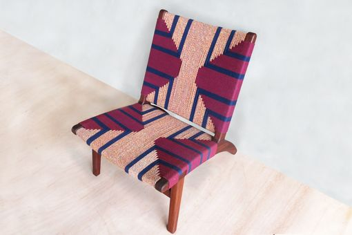 Custom Made Masaya Mid-Century Modern Lounge Chair With Rosita Walnut Frame And Momotombo Pattern.