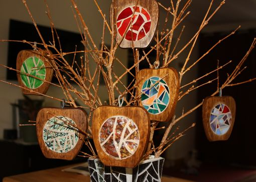 Custom Made Stained Glass Apple Coasters / Christmas Wooden Apple Ornaments - Set Of 5