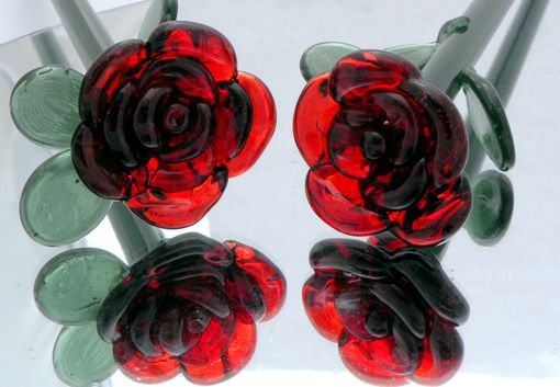 "Custom Made Handcrafted Glass Rose Ornament ""Forever Untamed Rose''"