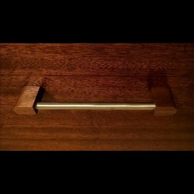 Custom Made Stainless Steel And Walnut Wood Cabinet Pull