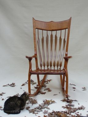 Custom Made Cherry Rocking Chair With Walnut And Maple Accents