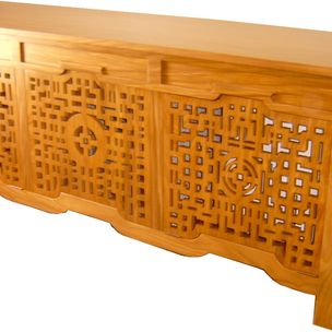 Asian Solid Teak Console With Air Filtering Fan