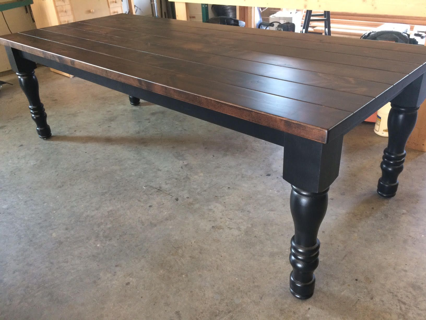 Custom made turned leg farmhouse table