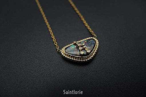 Custom Made Black Opal Necklace With Diamonds