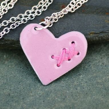 Custom Made Mended Broken Enamel Heart Pendant Necklace Copper Enameled Jewelry Sewn Medium Pink