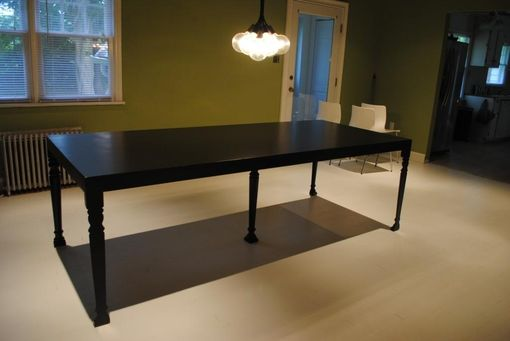 Custom Made Custom Contemporary Satin Black Dining Table