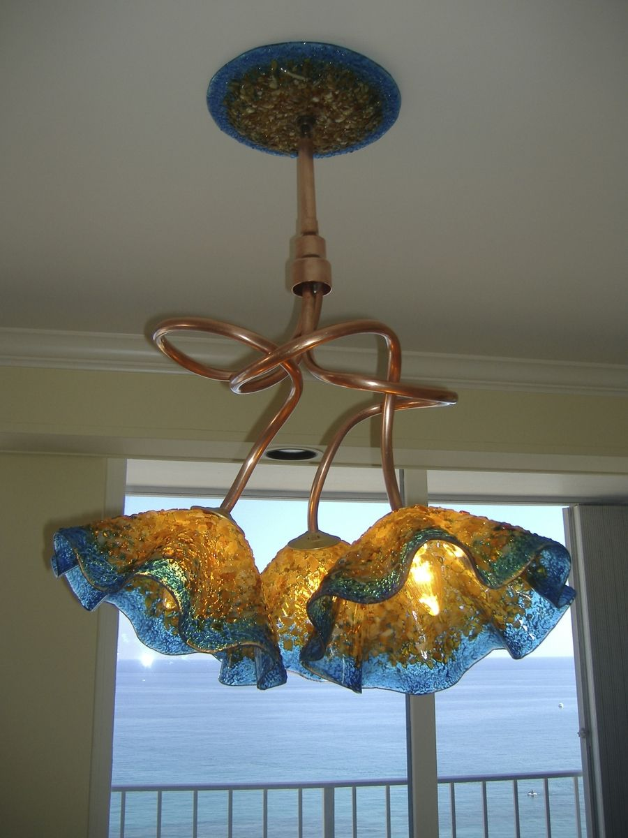 Buy A Custom Made Copper Amp Blown Glass Chandelier Amber