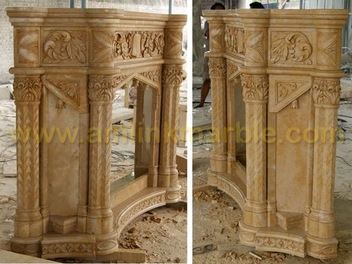 Custom Made Stone Fireplace Beige Yellow Limestone Fireplace Surround