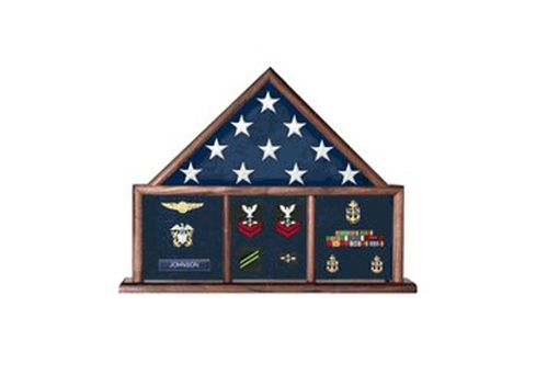 Custom Made Memorial Flag Case Three Bay Shadow Box