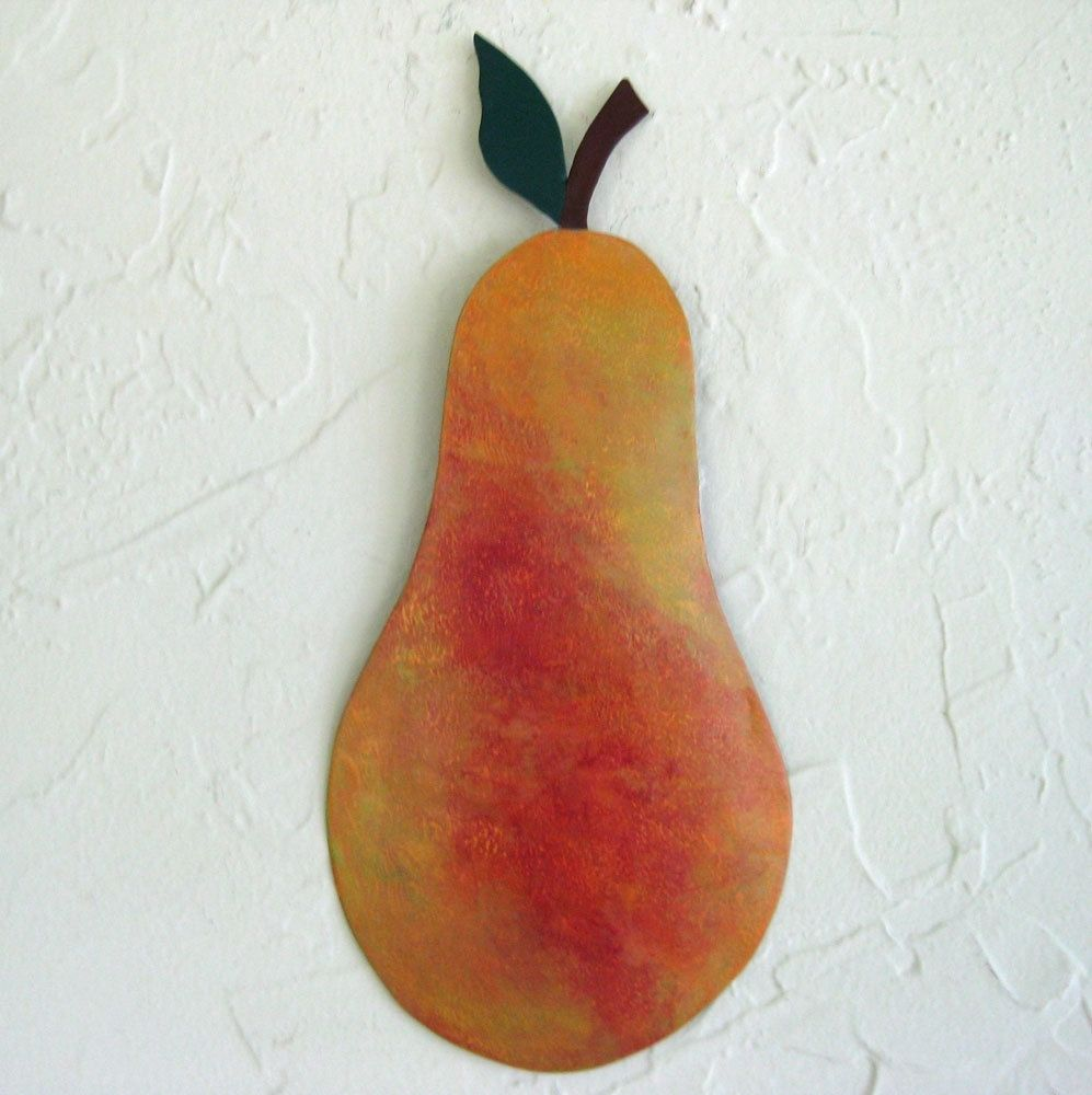 Custom Made Handmade Upcycled Metal Pear Wall Art Decor In Green And Gold