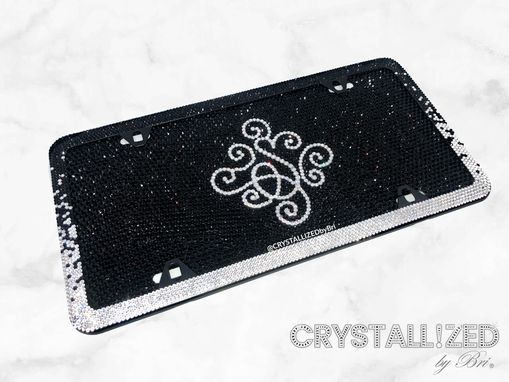 Custom Made Ombre Crystallized Bling Slim License Plate Frame Made With Swarovski Crystals Bedazzled