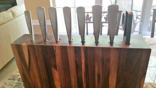 Custom Made Custom Made Walnut Vertical Hand Crafted Chef's Knife Block