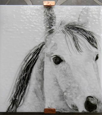 Custom Made Fused Glass Horses Wall Art Trio