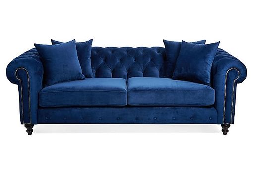 Custom Made Blue Velvet Chesterfield Sofa