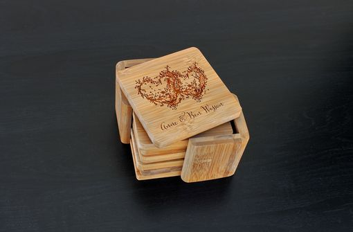 Custom Made Custom Bamboo Coasters, Custom Engraved Coasters --Cst-Bam-Anne Ben Wesson