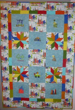 Custom Made New York City Embroidered Throw Quilt