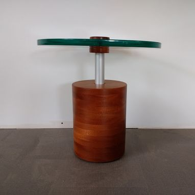 Custom Made Stacked Mahogany Cylinder With Glass Top