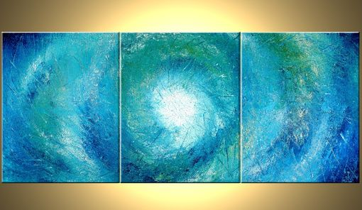 Custom Made Blue White Original Painting, Abstract Palette Knife Art, Impasto Storm Hurricane, Heavy Texture