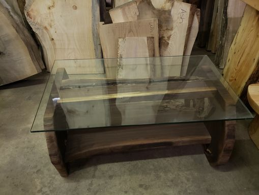 Custom Made Black Walnut Frame Glass Top With Lots Of Character