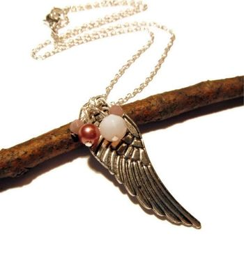 Custom Made Silver Angel Wing Necklace With 4 Glass Beads