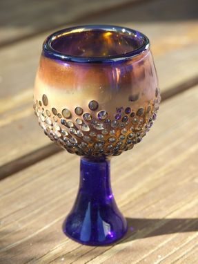 Custom Made Shot Glass.  Blue With Granulation-Style Surface Decoration