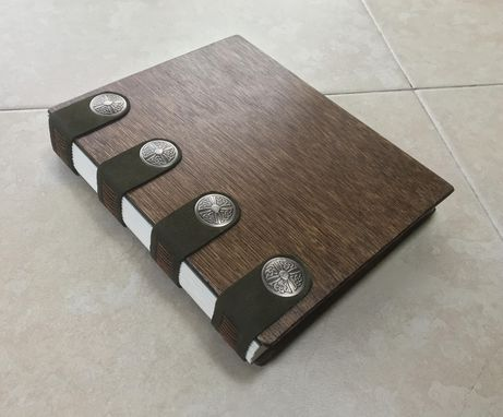 Custom Made An Elegant Journal, Bound In Dark Brown Wood And Green Leather, With Celtic Leather Rivets