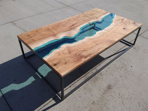 Hand Made Sycamore River Glass Coffee Table by Villella ...