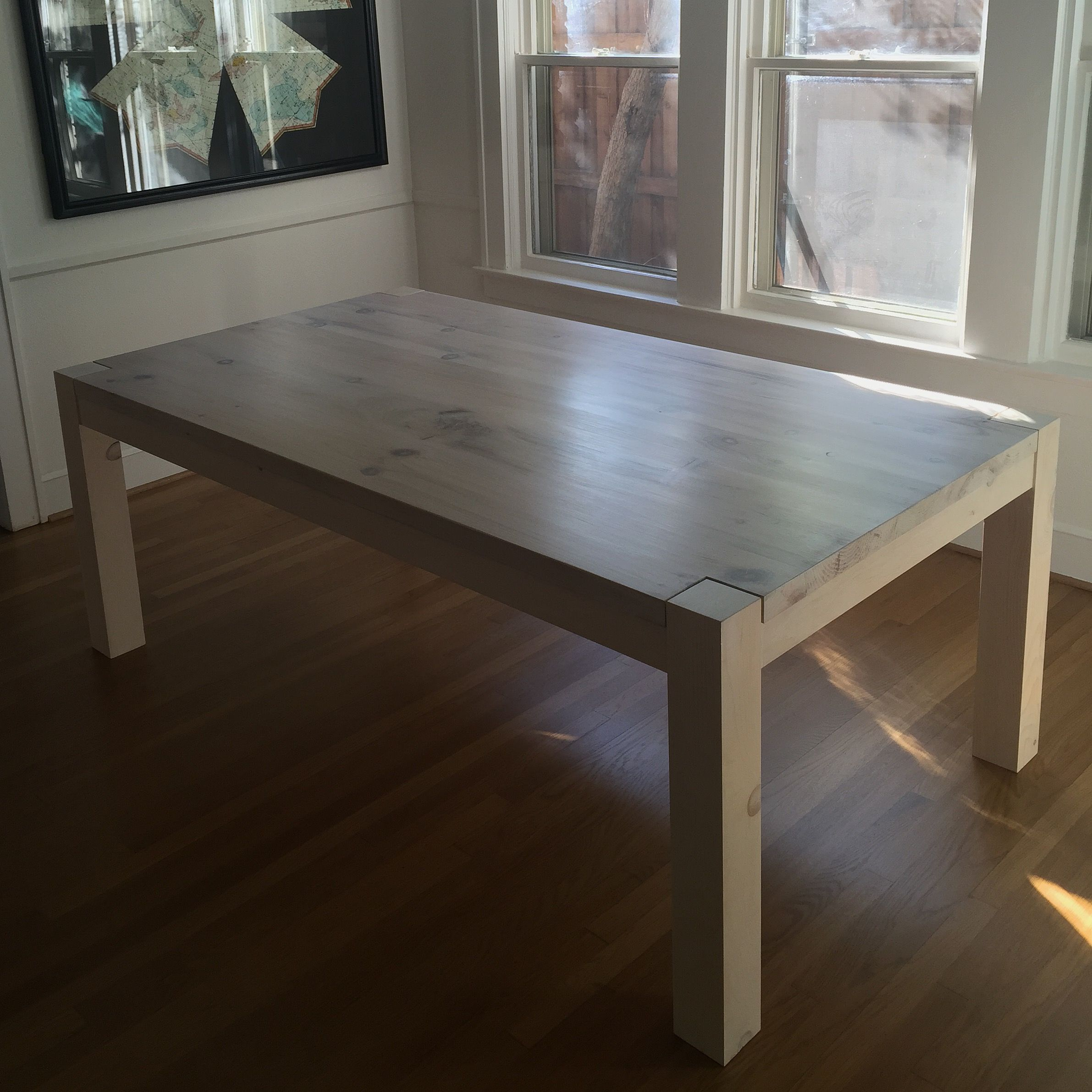 Custom Made Parsons Type Farm Table In Pine