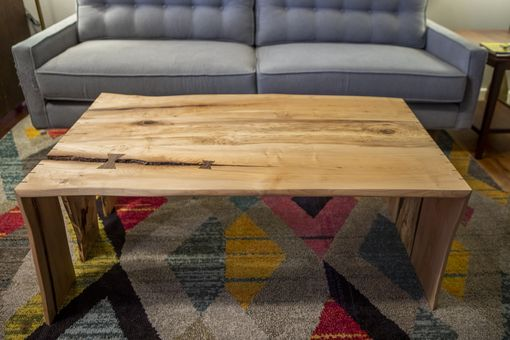 Custom Made Live Edge Spaulted Maple With Walnut Bowties Coffee Table