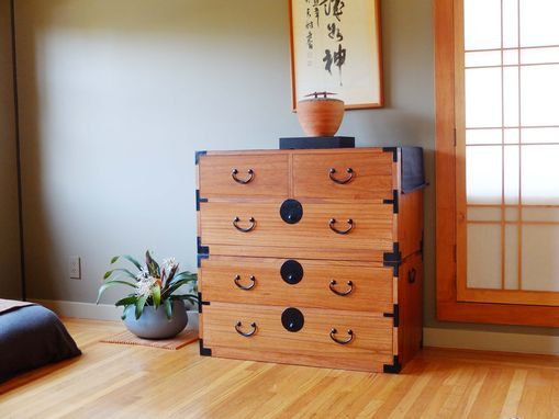 Custom Made Kiri Wood Japanese Style Clothing Chest, Isho Dansu, Tansu