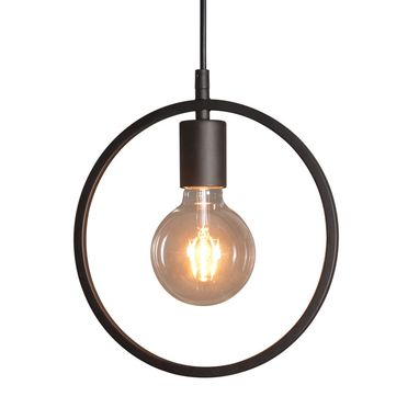 Custom Made Black Geometric Circle Cord Industrial Style Pendant Light