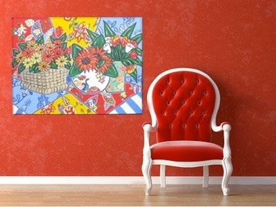 Custom Made Red Still Life Painting Acrylic On Canvas Country French Sunflowers