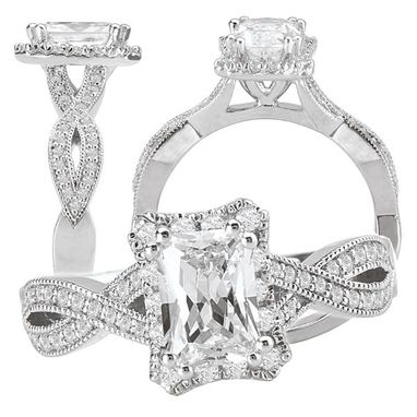 Custom Made 18k White Gold Diamond Engagement Ring Semi-Mount Holds 7x5mm Emerald Cut Center
