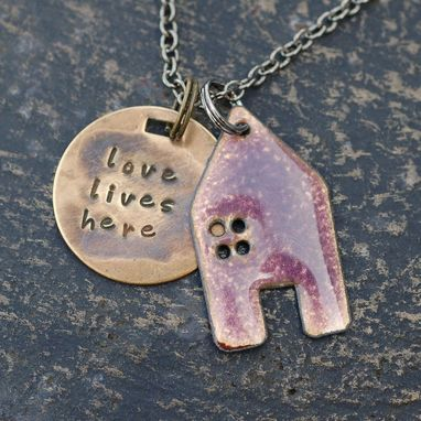 Custom Made Home Necklace Handstamped Brass Tag Enameled Purple- Love Lives Here