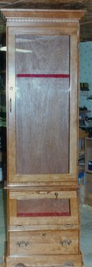 Custom Made Solid Cherry 8 Gun Cabinet With Hand Gun Display