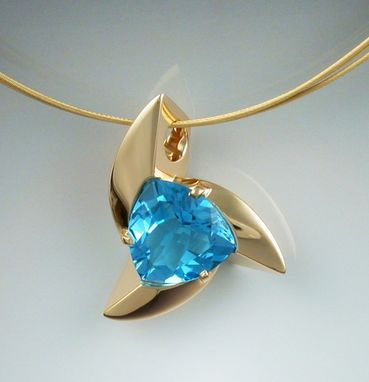 Custom Made 14k Gold Pendant With Trillion Cut Blue Topaz
