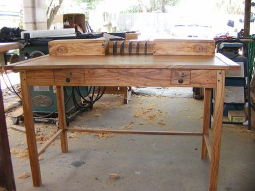 Custom Made Olivewood Mission/Shaker Style Writing Desk And Tables