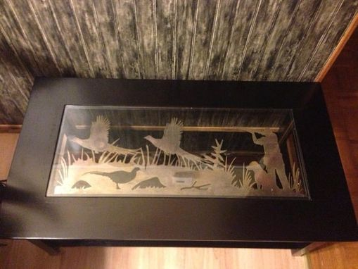 Custom Made Coffee Table With A Nice Pheasant Hunting Scene