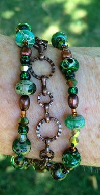 Custom Made Heather Rain-Green Agate And Pearl 3 Strand Bracelet