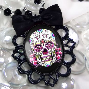 Custom Made Dia De Los Muertos Pink Sugar Skull Black Filigree Necklace 58-Jbbpn