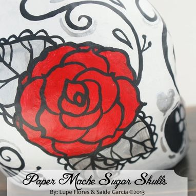 Custom Made Wedding Cake Toppers Paper Mache Skulls Day Of The Dead Red Roses Decoration