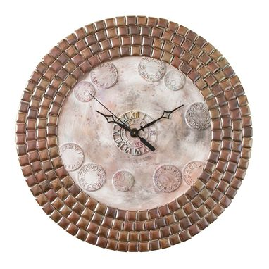 Custom Made Tetsu Ore Antique Copper Porcelain Mosaic Wall Clock, Metal, Large, Contemporary, Silent Non Ticking
