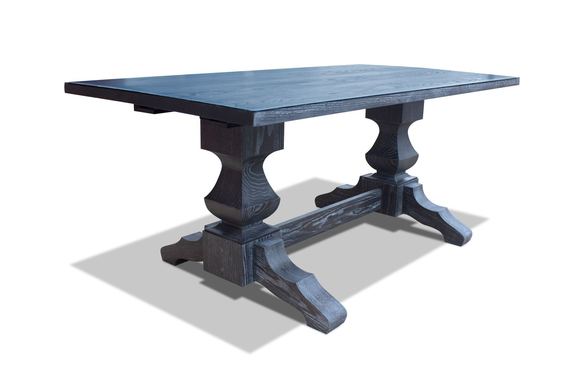 Custom Cerused Oak Trestle Dining Table Tuscany Pedestal