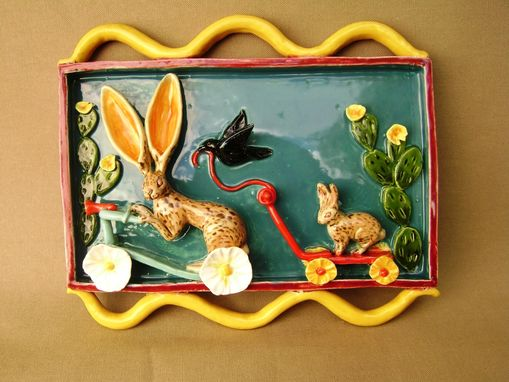 Custom Made Jacky Rabbit And Ben Bunny Scooter And Wagon Parade Ceramic Shadow Box