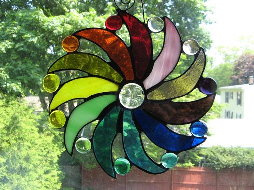 Custom Made Multicolored Stained Glass Moon Face And Sun Rays Light Catcher