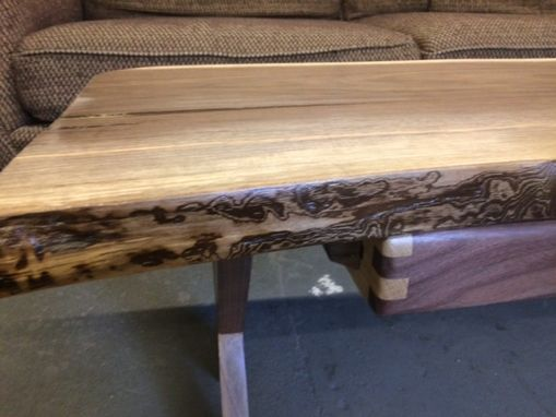 Custom Made Live Edge Walnut Sofa/Coffee Table