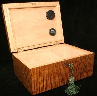 Custom Made Curly Maple Solid Wood Humidor