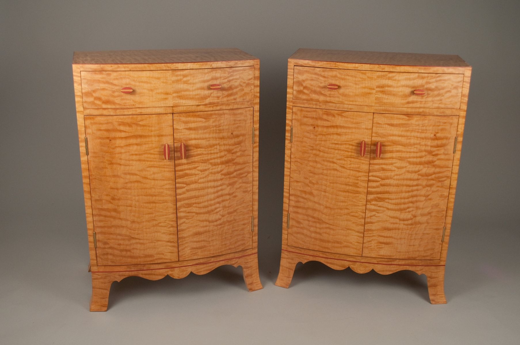 Handmade Tiger Maple Cabinets By Cherry
