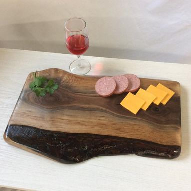 Custom Made Charcuterie Board, Live Edge Black Walnut, Serving Tray With Hand Holds