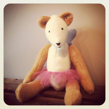 Custom Made Large Jointed Bear /Fur Made From Recycled Bottles /Vintage Style /Hand Stitched Details